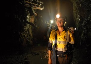 Geologist Shannon Williams' office is more than 300 metres below ground. Newmont Waihi Gold's operations at Waihi, now owned by OceanaGold. Photo: Kit Wilson