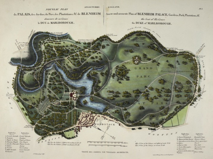 "A map of Lancelot ""Capability"" Brown's famous Blenheim Palace Grounds, near Oxford, without a straight road in sight. Source: Wikipedia Commons license."
