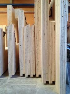 Completed panels stacked at Holzbau Koch (German manufacturer). Source: PrefabNZ