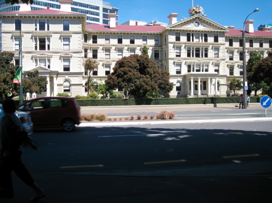 The old government building, situated on Lambton Quay in Wellington.